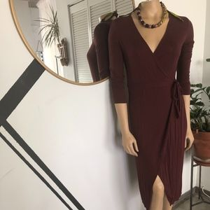 Dresses & Skirts - BURGANDY WRAP DRESS